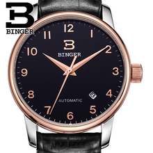 Switzerland watches men luxury brand18K gold Wristwatches BINGER business Mechanical Wristwatches leather strap B5005B 5