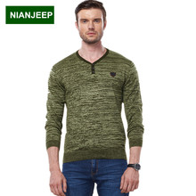NIANJEEP Brand Men 's V – Neck Pullover Sweater coat Autumn Winter Male Style Casual Fashion Knit Sweaters man clothing M-3XL