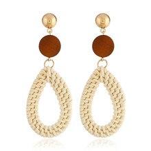 Vintage Rattan Knit Water Drop Wood Drop Dangle Earrings Handmade Exaggerated Geometry Statement Earrings For Women Jewelry цена 2017