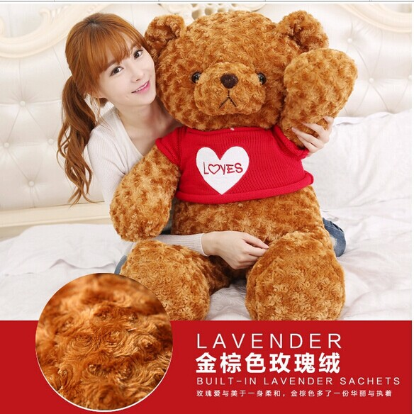 huge 120 cm brown teddy bear plush toy red loves sweater bear doll, throw pillow, Christmas gift w3049 big plush round eyes red love sweater teddy bear toy huge bear doll gift about 160cm