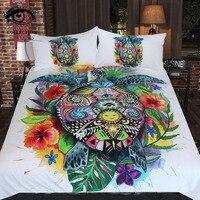 Turtle Life By Pixie Cold Art Bedding Set Bohemian Duvet Cover Set Floral Colorful Bedclothes 3pcs