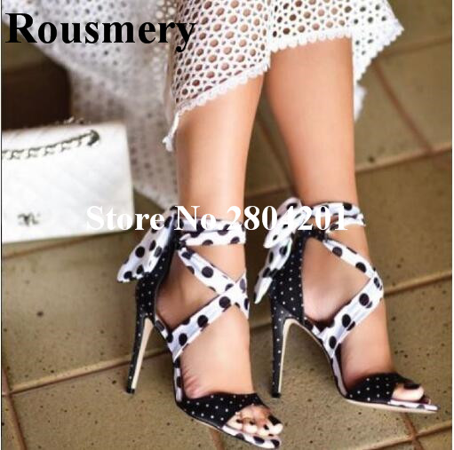 все цены на Rousmery Sexy Mixed Colors White Black Polka Dot High Heel Stiletto Cross-tied Party Banquet Dress Shoes Sweet Women Sandals