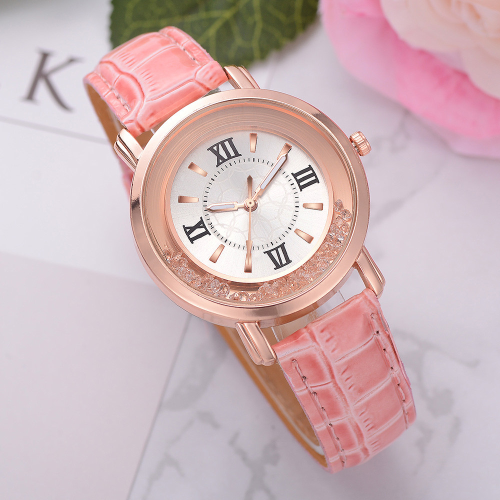 New Ladies Watch Rhinestone Leather Bracelet Wristwatch Women Fashion Watches Ladies Alloy Analog Quartz Relojes Wristwatch Fi
