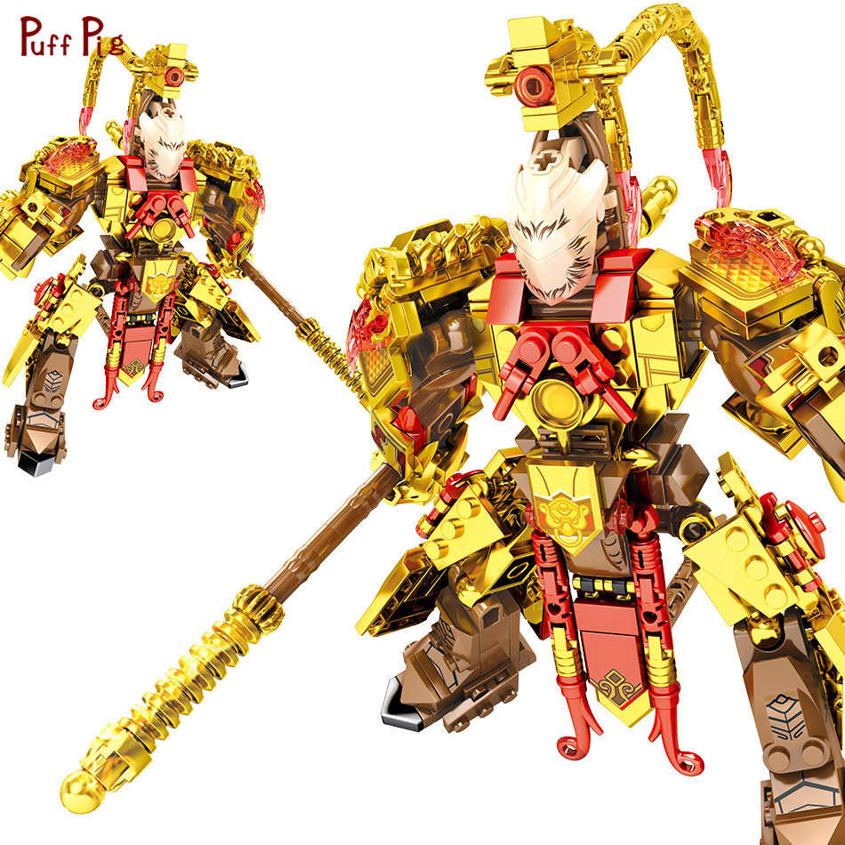 Gold Ninja Super Hero Sun Wukong Mech Robot Action Figures Model Building Blocks Legoingly Bricks Toys For Children