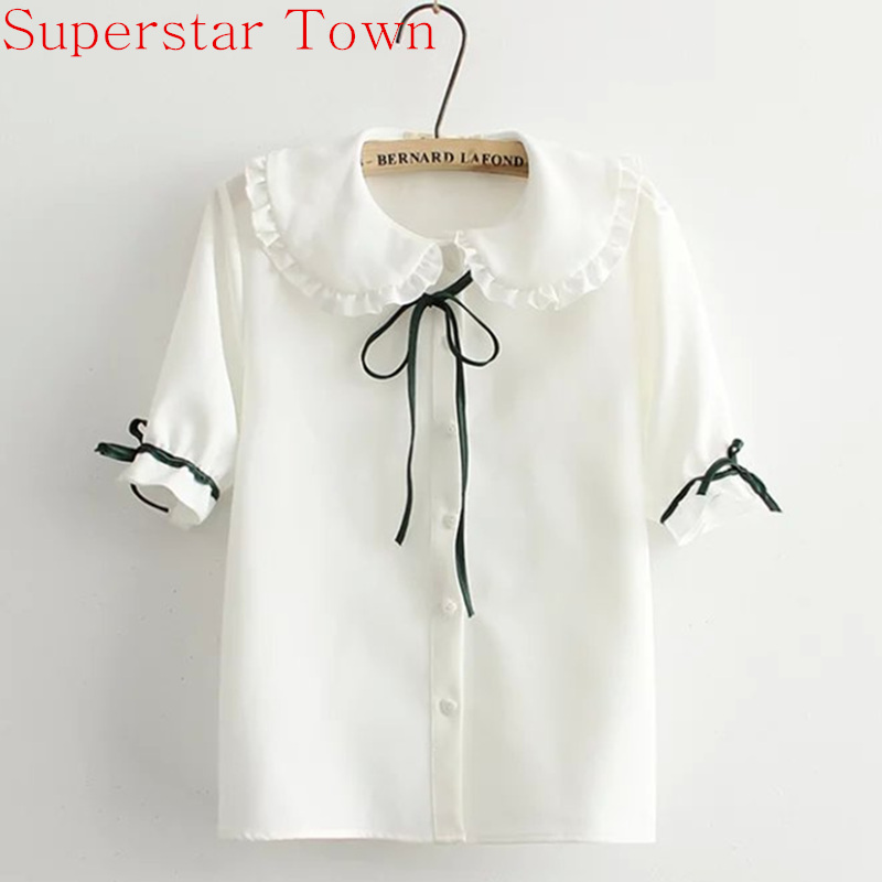 Girl School Preppy Style Elegant Peter Pan Collar White Chiffon Blouse Summer Short Sleeve Lolita Blouse Ladies Female Shirt