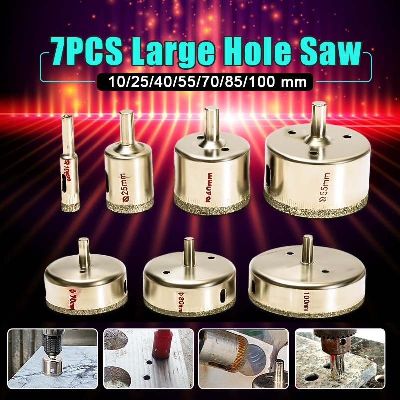 7PCS Large 10-100mm Diamond Hole Saw Tile Ceramic Glass Porcelain Marble Drill Bit Set