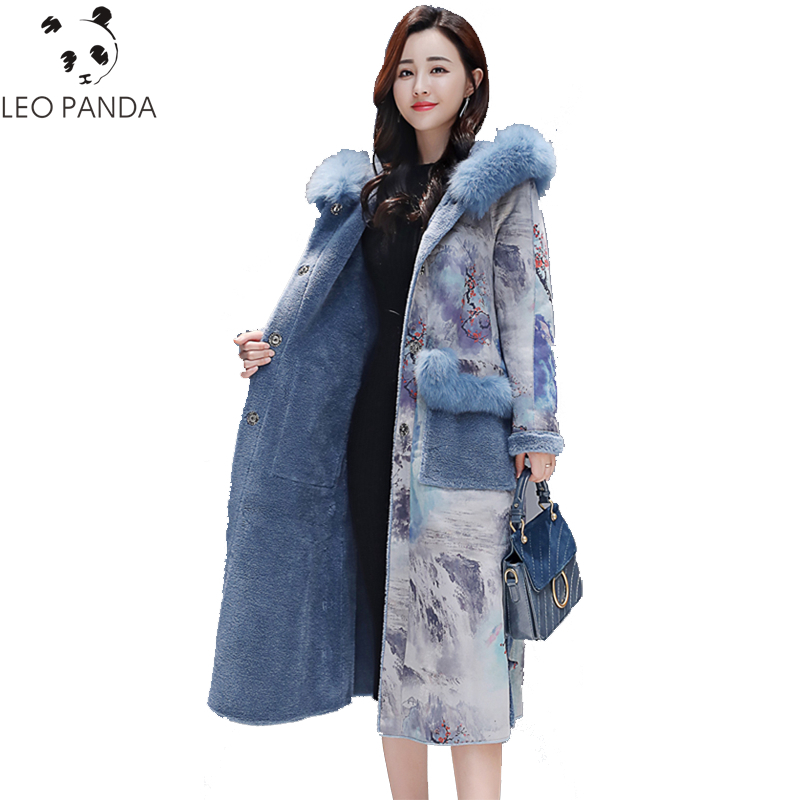 2019 Winter New Long Jackets Wool Liner Cotton Patchwork Print pattern Outerwear Women Hooded   Parkas   Mujer cotton-padded Coat