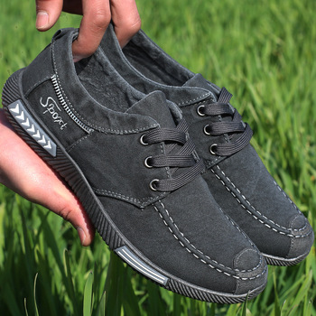 AGUTZM Canvas Men Shoes Denim Lace-Up Men Casual Shoes New 2017 Plimsolls Breathable Male Footwear Spring Autumn 2