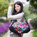 Hot Nova tendência nacional saco bordados étnicos bordados sacos de ombro Mensageiro da lona handmade grande bolsa das mulheres