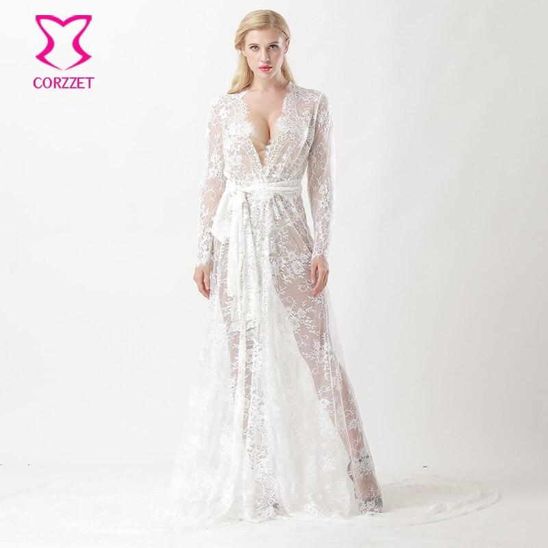116e6e9694d38 Branco Ver Através Floral Lace Sereia Cauda Longa Camisola Lingerie de Noiva  Sexy Noite de Casamento
