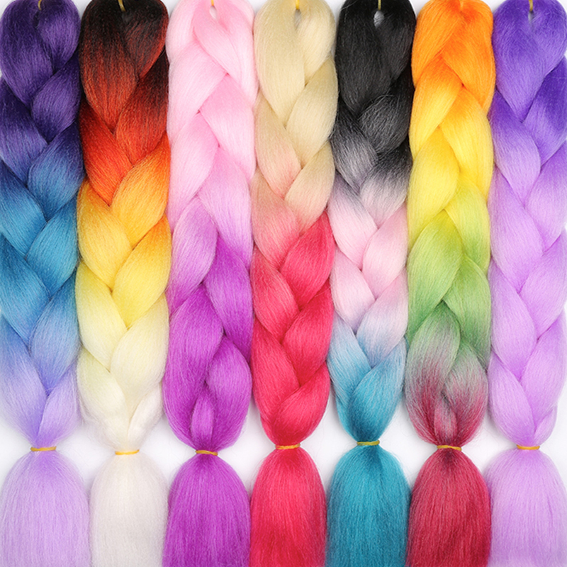 LISI HAIR 24inches Ombre 88 Kinds Color Crochet Hair Synthetic Braiding Hair Jumbo Braids Hairstyles Heat Resistant Braid