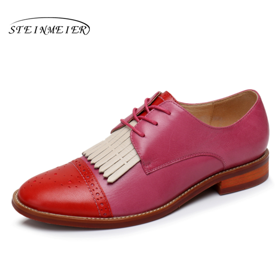 Women natrual sheepskin leather yinzo flat oxford shoes us 9 vintage carving handmade brown red pink oxford shoes for women women natrual leather yinzo brogues flat oxford shoes woman vintage handmade sneaker oxford shoes for women 2018 red brown pink