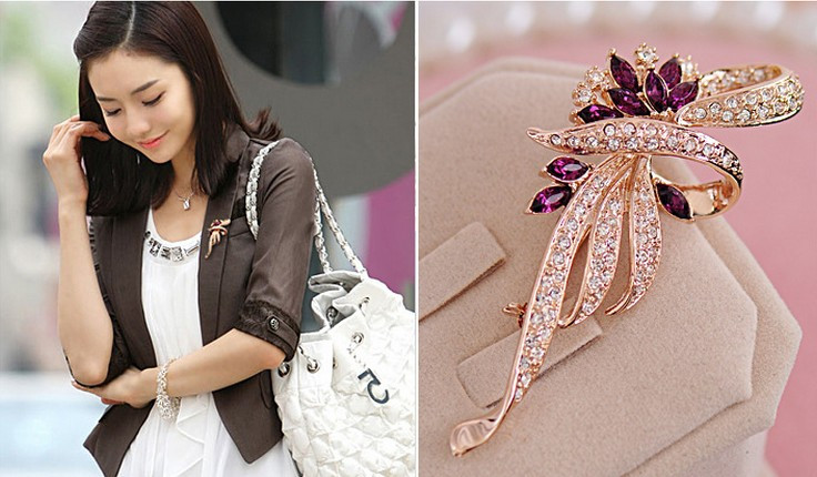 SHUANGR Luxury Crystal Flower Brooch Lapel Pin Rhinestone Jewelry Women Wedding Hijab Pins Large Brooches For Women brooches 7