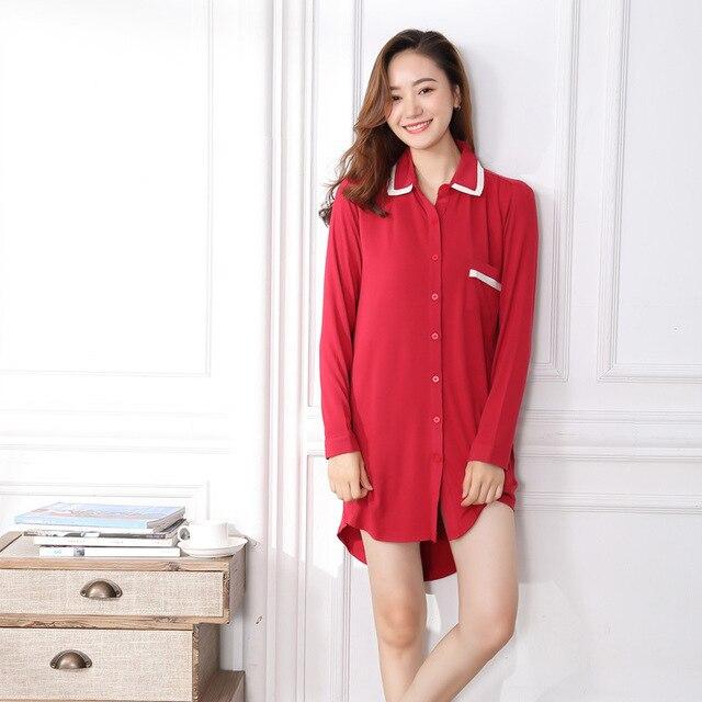 de42bfe7a6 Modal Cotton Nightgowns Sleepshirts for Women Nightwear Sexy Long Sleeve  Night Shirts Women Sleeping Dress Soft Sleepwear Women