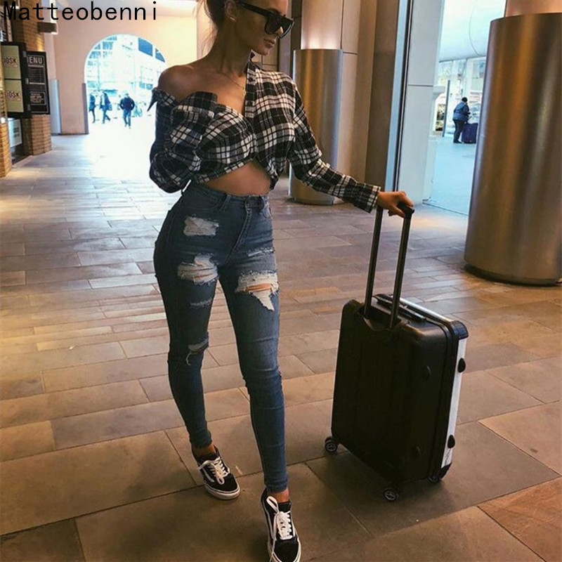 2018 Sexy ripped jeans for women Push Up Gilr Pencil denim Pants Vintage High Waist Jeans Casual Stretch Skinny mom jeans Femme