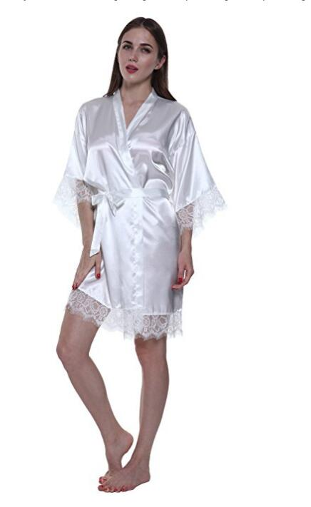 Silk Bride Of Mother Robe With Gold Letter Get Ready Robes Sexy Women Short Satin Wedding Kimono Sleepwear