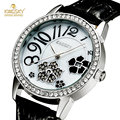 KINGSKY New Design Black Flower Rhinestone Quartz Watch Women Leather Waterproof Calendar Watches Ladies Gift Clock Montre Femme