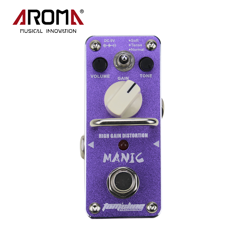 Aroma AMC-3 Manic High Gain Mini Single Distortion Electric Guitar Effect Pedal True Bypass aroma adr 3 dumbler amp simulator guitar effect pedal mini single pedals with true bypass aluminium alloy guitar accessories
