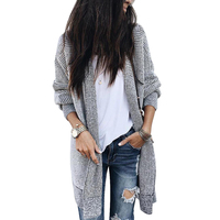 Korean Fashion Womens Plaid Long Cardigan 2018 Autumn Winter Knitted Long Sleeve Cardigans Jumper Outwear Pulover Feminino