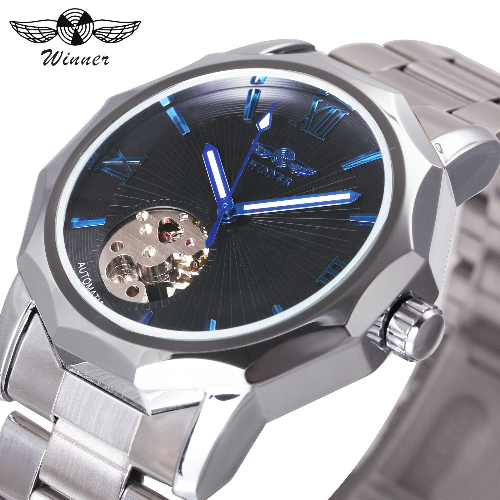 WINNER Fashion Watch Men Auto Mechanical Watches Skeleton Dial Stainless Steel Strap Geometry Transparent Case Classic montre winner men fashion black auto mechanical watch leather strap skeleton dial square shape round case unique design cool wristwatch