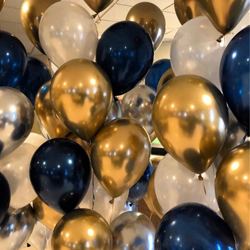 40pcs 12inch Party Balloons set Mixed Chrome Gold Silver Pearl White Graduation Wedding & Engagement 1th Birthday Decoration