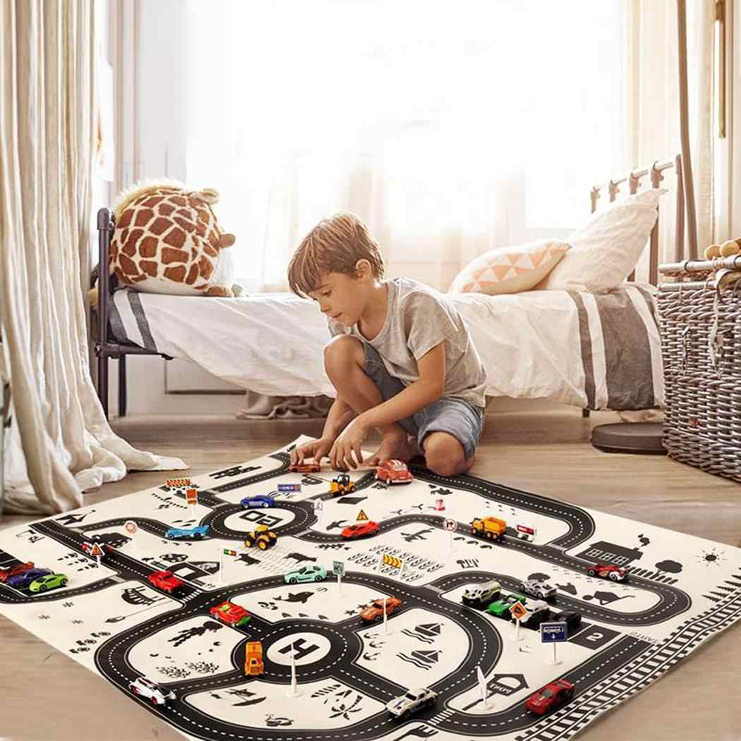 Kids Play Mat City Road Buildings Parking Map Game Educational Toys Black White