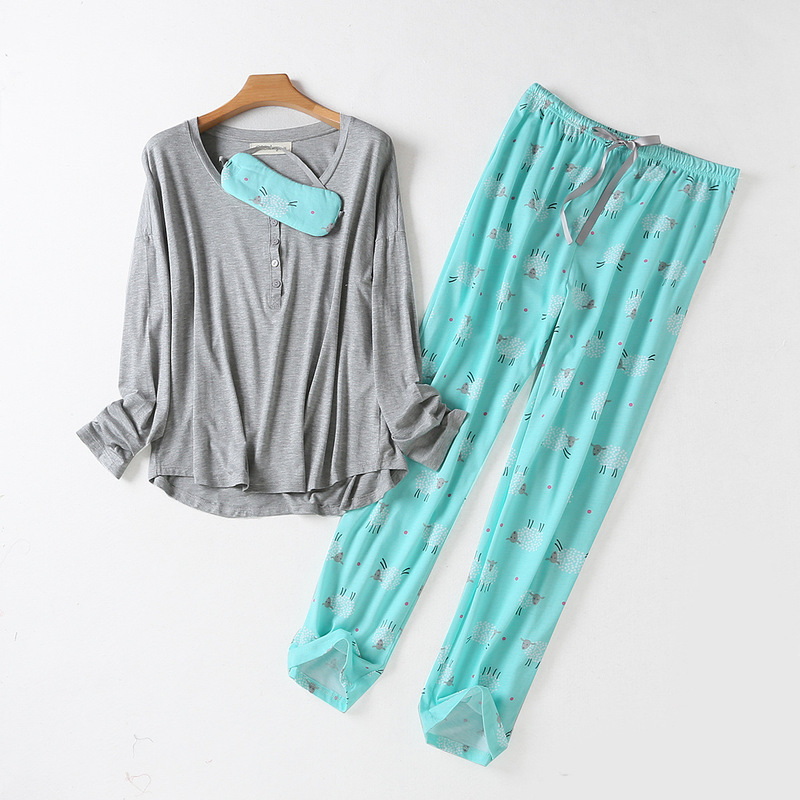 Spring New100% Cotton Sleepwear Long Sleeve Pijama Mujer Round Neck Plus Size Pajamas Cartoon Pijama Women's Three-piece Suit 33