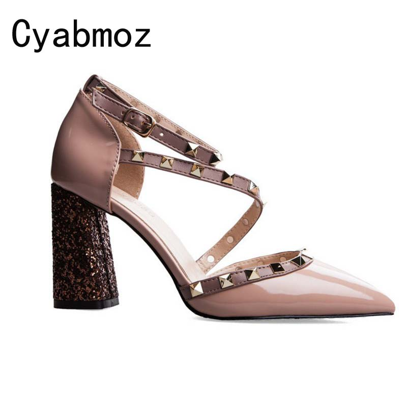 Cyabmoz fashion summer ladies prom shoes buckle thick heel bling wedding shoes women pointed toe rivets high heels sandals pumps full body u pillow