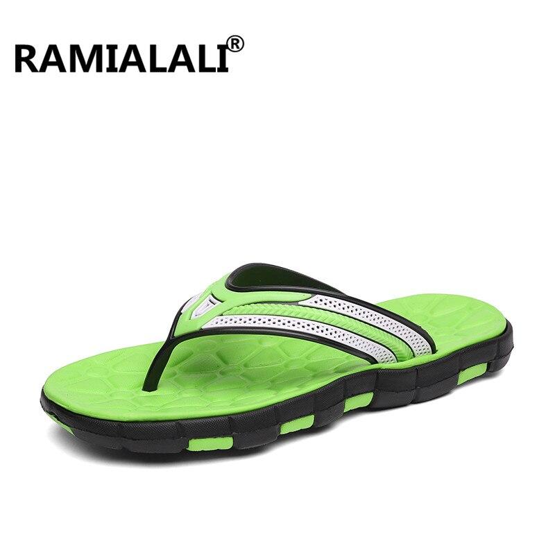 Ramialali/; мужские шлепанцы; летние шлепанцы; дышащая мужская обувь; модные сандалии; мужские вьетнамки; Повседневная обувь; большие размеры 40-45 - Цвет: BLACK GREEN