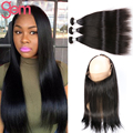 360 Lace Frontal Closure with Hair Bundles Brazilian Straight Virgin Hair with Pre Plucked 360 Lace Band Closure Soft Human Hair