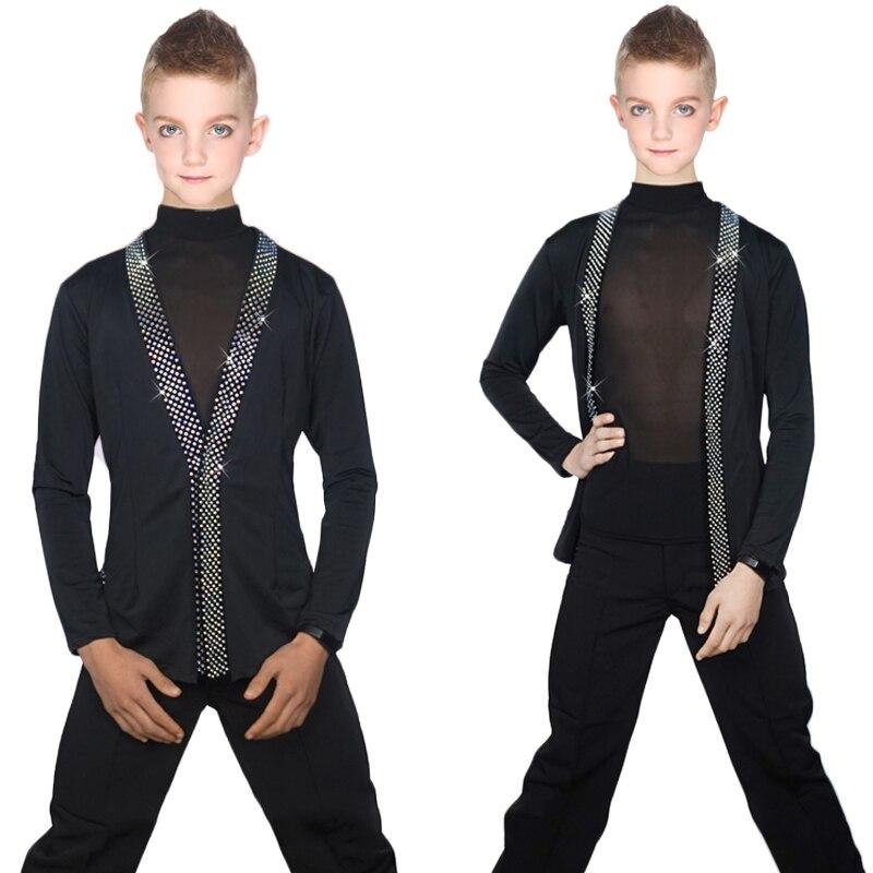 Latin Dance Shirts Boys Black Rhinestone Jacket Coat Vest Children Competition Performance Dancing Top Samba Costumes