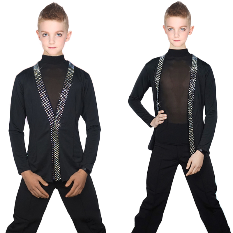 Latin Dance Shirts Boys Black Rhinestone Jacket Coat Vest Children Competition Performance Dancing Top Samba Costumes DNV10247-in Latin from Novelty & Special Use    1
