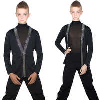 Latin Dance Shirts Boys Black Rhinestone Jacket Coat Vest Children Competition Performance Dancing Top Samba Costumes DNV10247