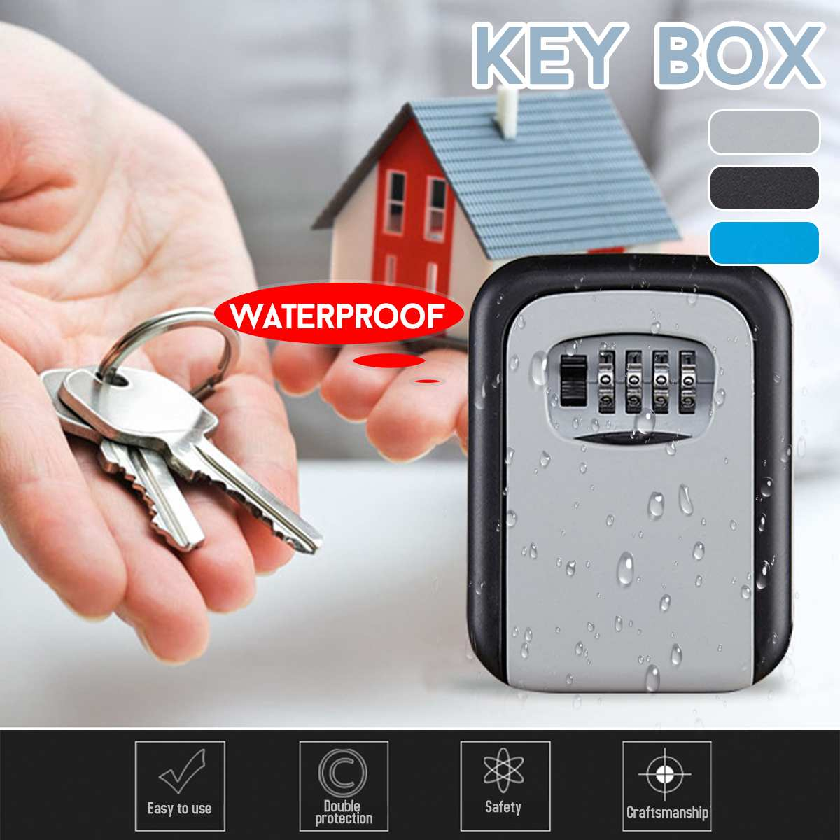 4 Digit Key Safe Box Outdoor Code Lock Storage Case Wall Mounted Larger Capacity Alumium Alloy Security Key Holder Rust Free