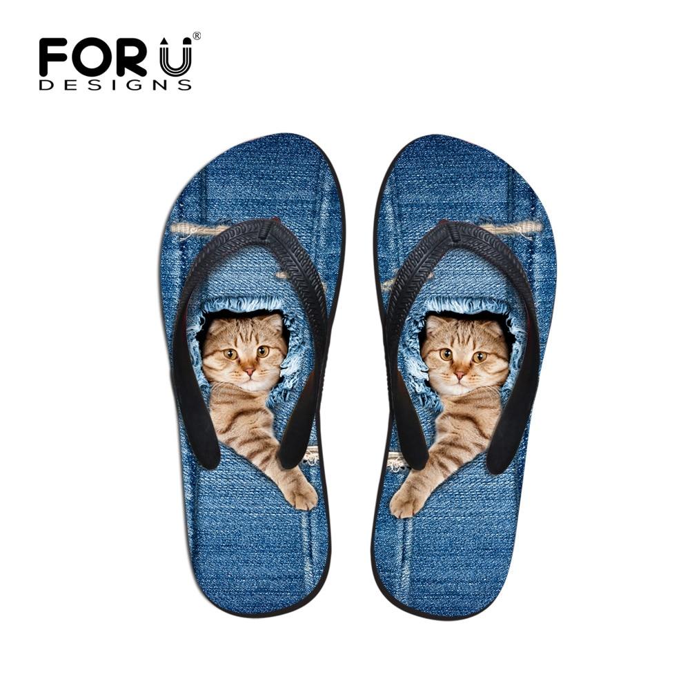 Shoes sandals flip flops - Forudesigns Brand Women Flip Flops Cute 3d Cat Print Flat Sandals Denim Blue Summer Beach Slippers