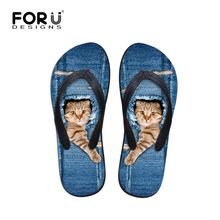 New Luxury Brand Women Flip flops Funny Cute Cat Print Flat Sandals Denim Blue Summer Slippers Zapatos Mujer Sapatos Femininos