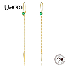 UMODE 925 Silver Drop Earrings for Women Fashion Long Chain Earrings Hook Gold Color Gifts Pendientes Mujer Moda Bijoux ALE0276 umode brand new design fashion charm long earrings female zircon big dangle drop earrings for women pendientes mujer moda ue0222