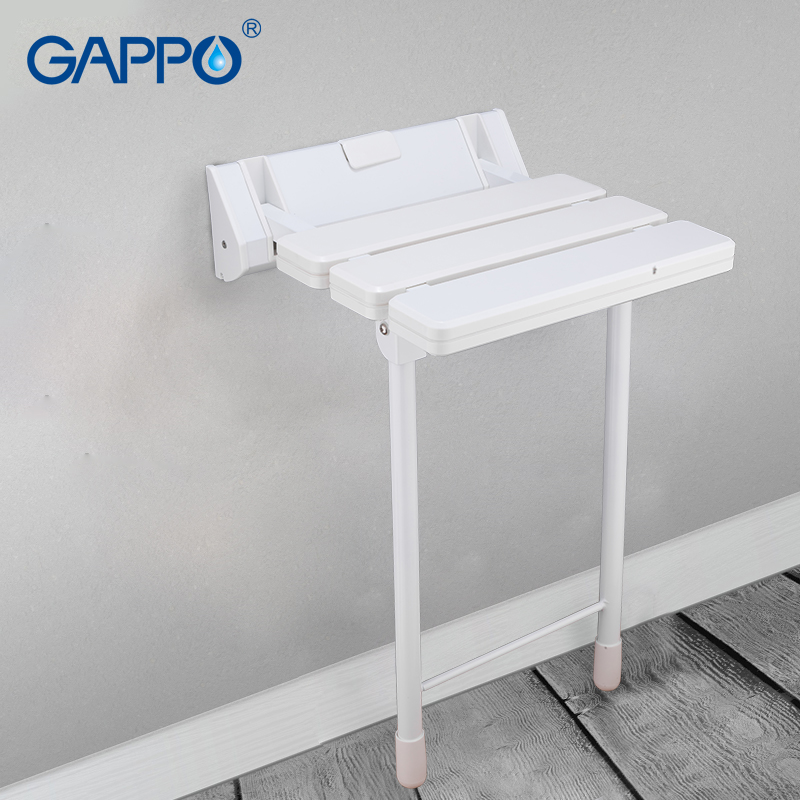 GAPPO wall Mounted shower seats white wall mounted shower chair ABS plastic and Aluminium Alloy bath bench wall chairs
