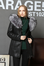 Genuine leather sheepskin Double faced Fur FOX Fur Collar Warm keeping Slim Lady suit Overcoat fashion High quality new style