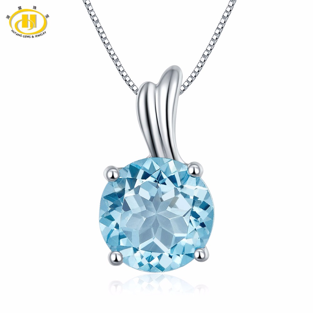 Hutang 2.35ct Sky Blue Topaz Pendant Natural Gemstone Solid 925 Sterling Silver Wing Necklace For Women's Fine Jewelry 18