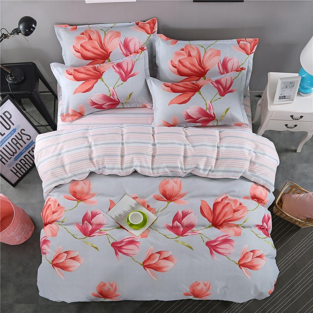2018 new red flowers pastoral Ladies fashion DuvetCover plant sheets Bedding Set King qu ...