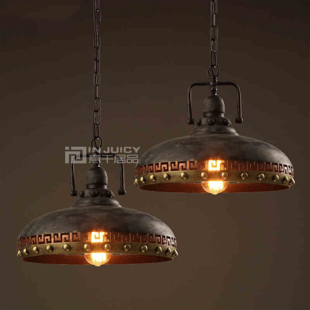 Vintage Edison Industrial LED Iron Rivet Loft Corridor Cafe Bar Restaurant Lamp Pendant Droplight Lighting Hall Decor loft industrial rust ceramics hanging lamp vintage pendant lamp cafe bar edison retro iron lighting