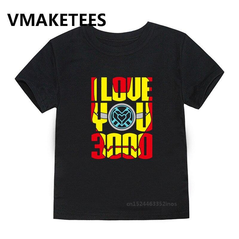I Love You 3000 Times Iron Man Print Kids T shirt Children Avengers 4 Endgame Casual Clothes Boy/Girl Summer T-shirt,HKP5283G(China)