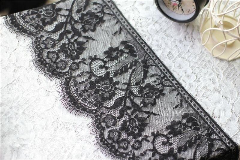 ✓9 m/lote de alto grado blanco y negro pestañas encaje de tela DIY ...