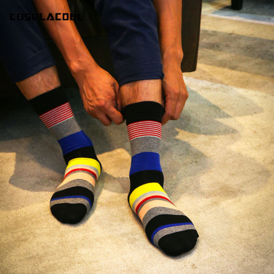 [COSPLACOOL] High quality large yards Fashion colorful socks cotton gentlemen Jacquard line hit color business Leisure men socks