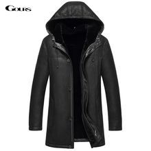 Gours Winter Men's Genuine Leather Jacket Sheepskin Jackets and Coats with Hood Warm Double-faced Fur 2016 New Plus Size 4XL