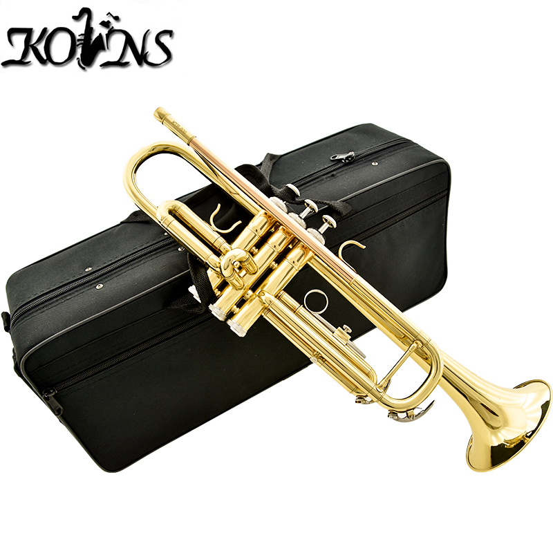 kolns KTR600 B flat Gold lacquer trumpet Brass wind instruments with case and mouthpiece high quality musical instruments many colors gold lacquer trumpet bb b flat brass exquisite with mouthpiece gloves