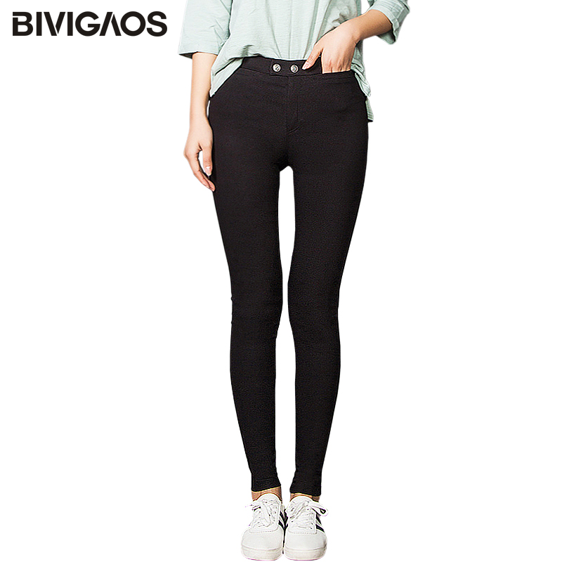 BIVIGAOS Fall Women Pencil Pants High Quality Elastic Woven Push Up Pants Two Buckle Black Leggings Skinny Slim Trousers Women