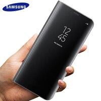 Samsung Galaxy S8 S8 Cộng Với Trường Hợp cửa sổ Thông Minh Khung Điện Thoại Gương lật Luxury Bìa Leather đối với S 8 G9500 G9508 Vỏ Gốc