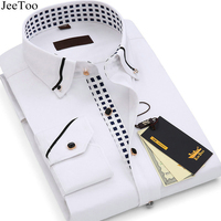 JeeToo 2017 Mens Shirts Long Sleeve Summer Mens Dress Shirts Short Sleeve Slim Fit Cotton Business